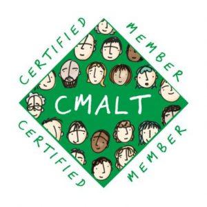 CMALT badge with cartoon people around the edge